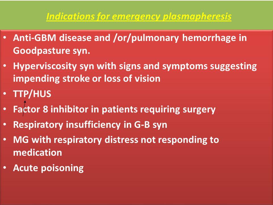 Indications for emergency plasmapheresis