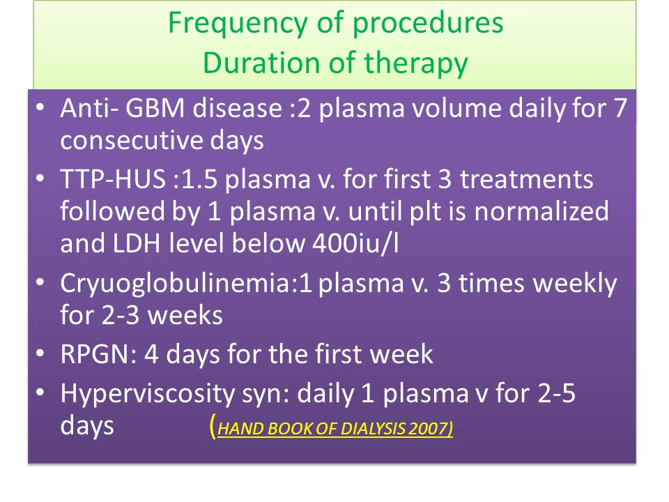Frequency of procedures Duration of therapy