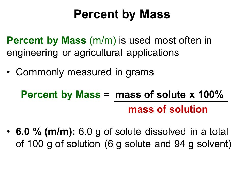 Percent by Mass = mass of solute x 100%