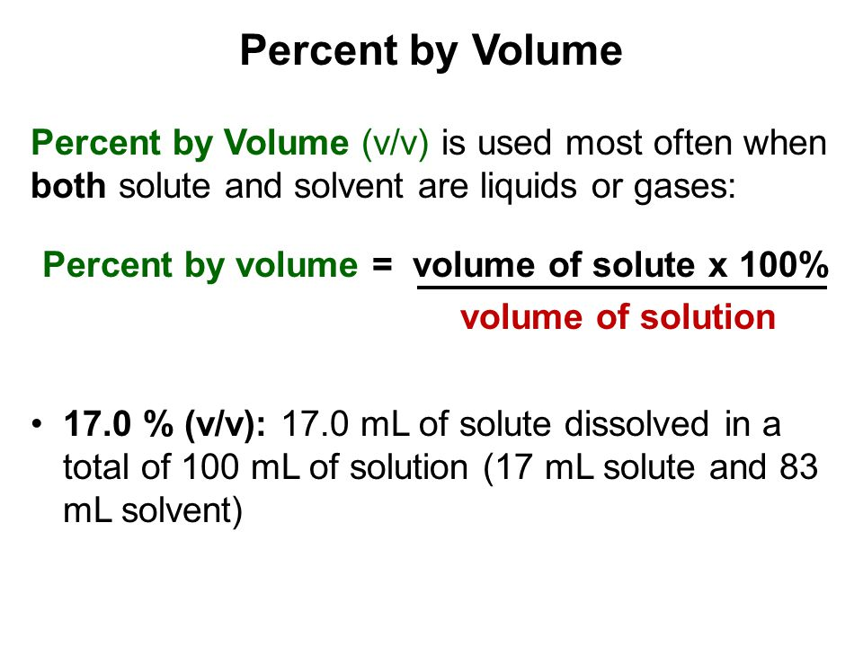 Percent by volume = volume of solute x 100%