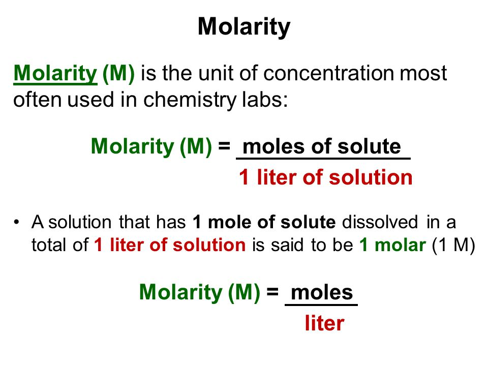 Molarity (M) = moles of solute