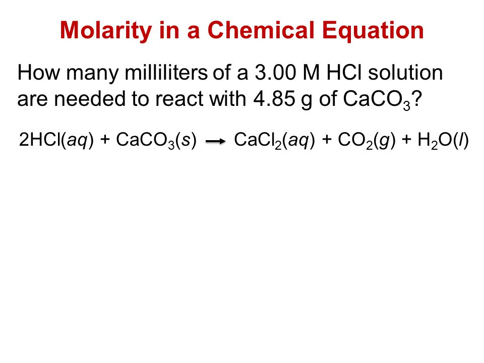 Molarity in a Chemical Equation