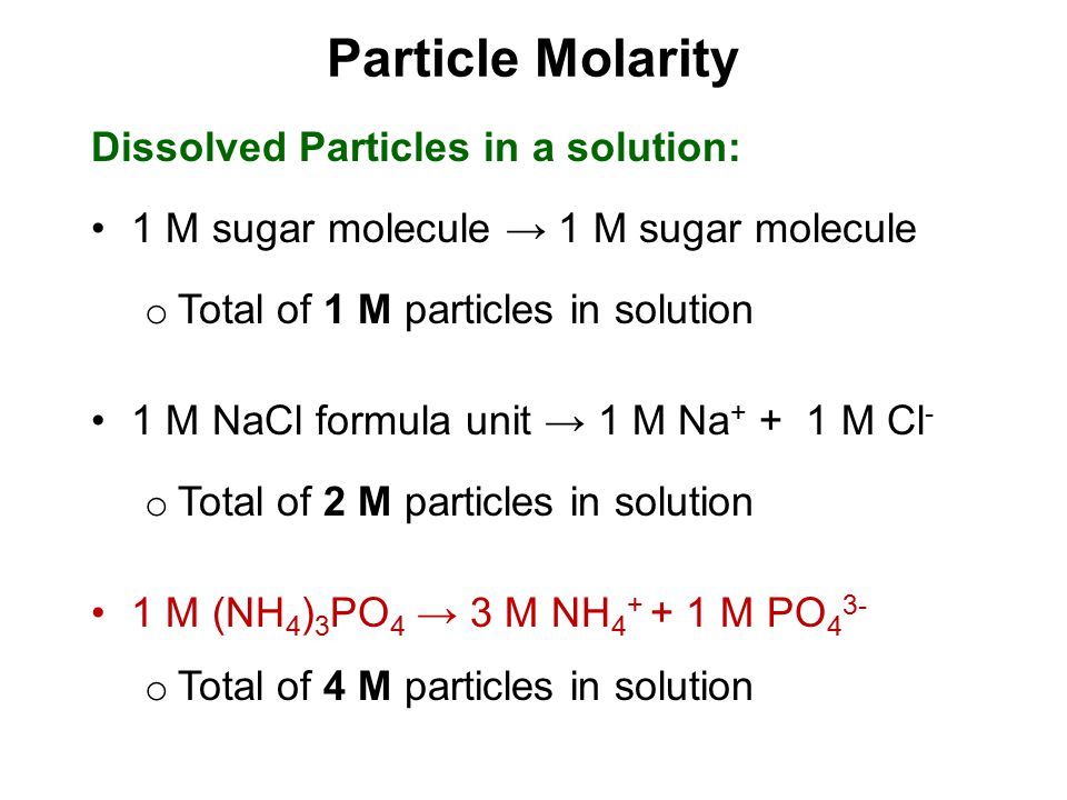 Particle Molarity Dissolved Particles in a solution:
