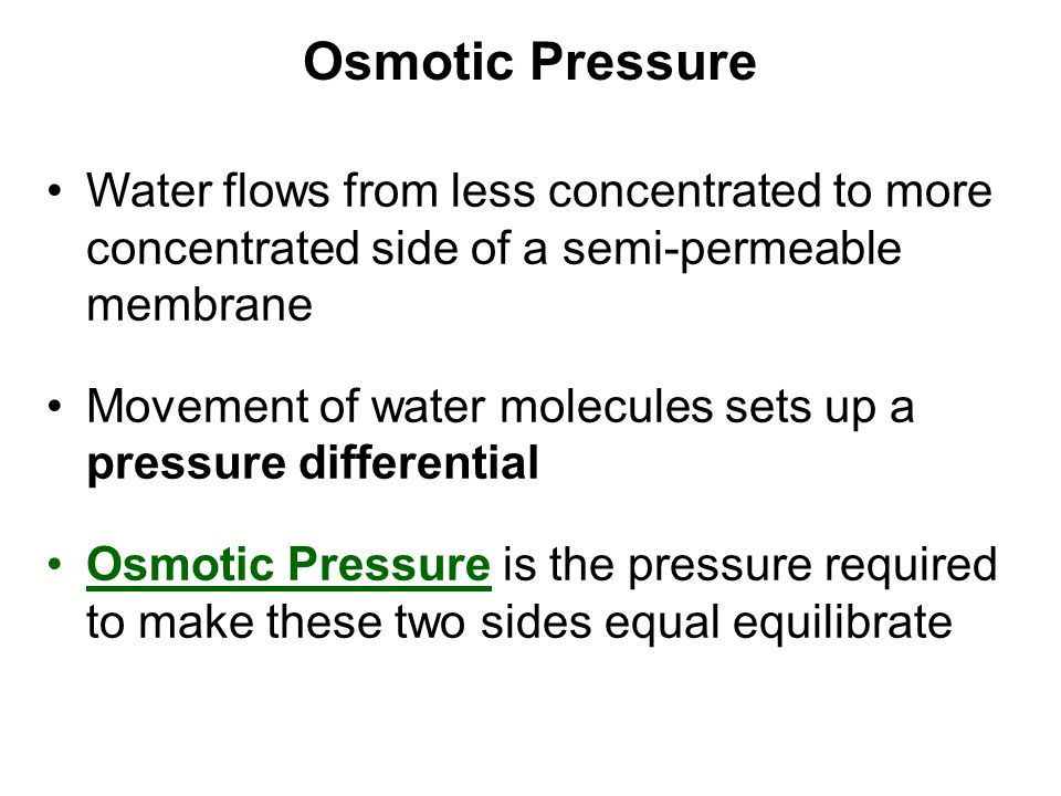 Osmotic Pressure Water flows from less concentrated to more concentrated side of a semi-permeable membrane.