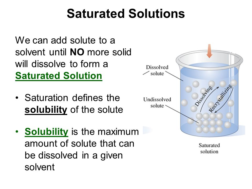 Saturated Solutions We can add solute to a solvent until NO more solid will dissolve to form a Saturated Solution.
