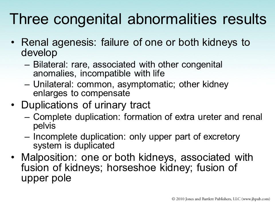 Three congenital abnormalities results