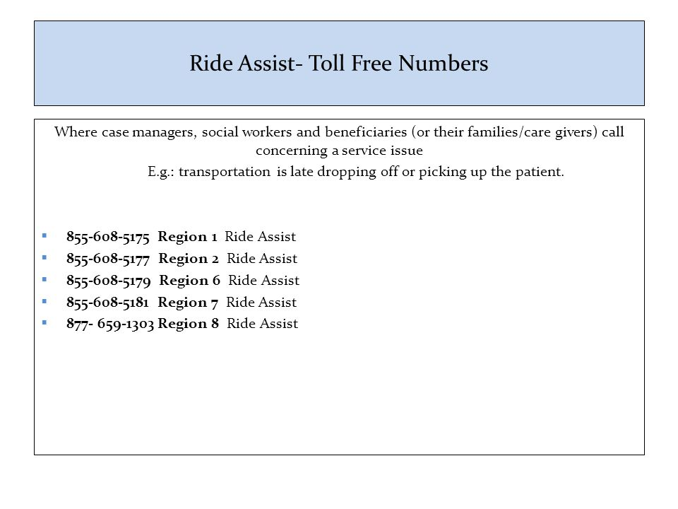 Ride Assist- Toll Free Numbers
