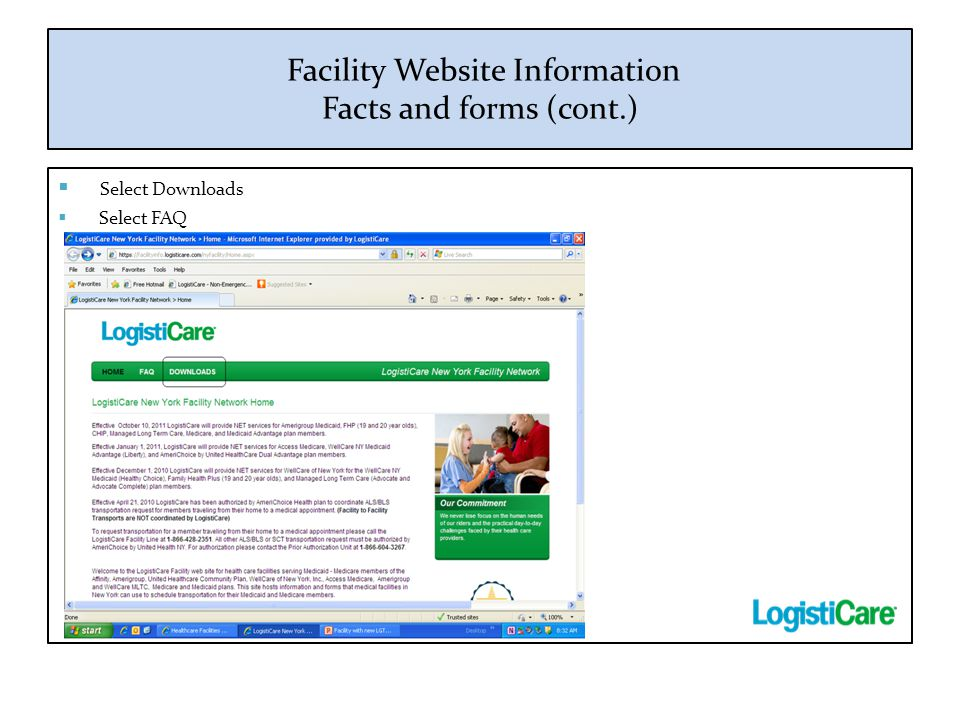 Facility Website Information Facts and forms (cont.)