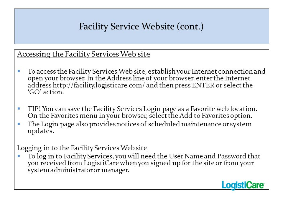 Facility Service Website (cont.)