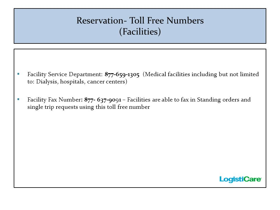 Reservation- Toll Free Numbers (Facilities)