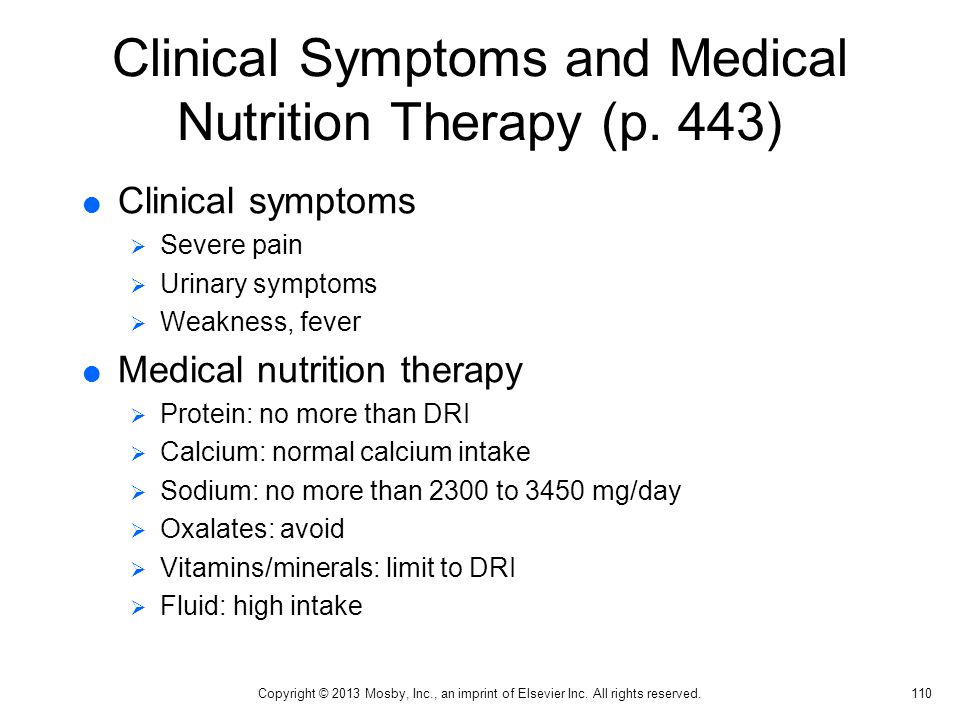 Clinical Symptoms and Medical Nutrition Therapy (p. 443)