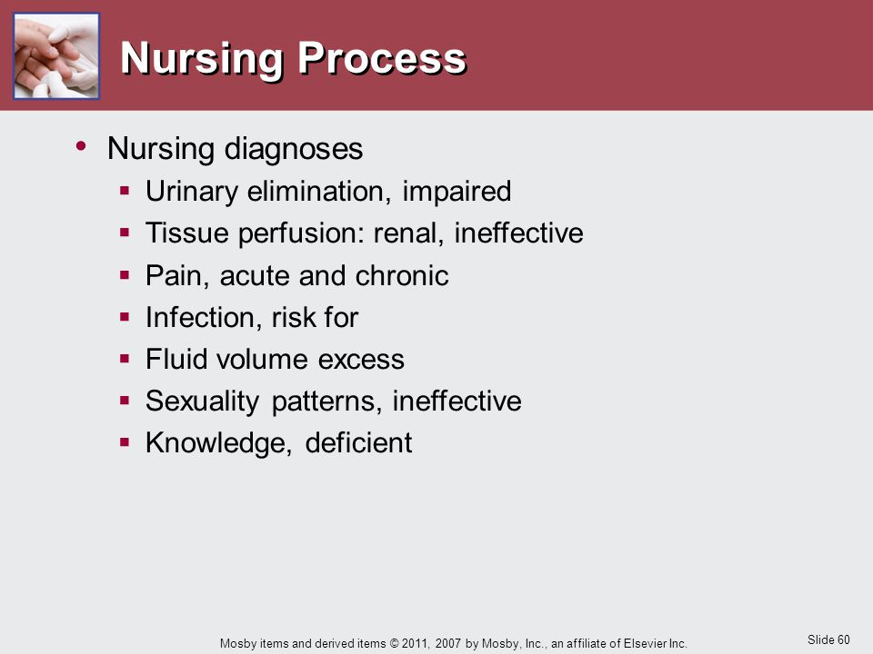 Nursing Process Nursing diagnoses Urinary elimination, impaired