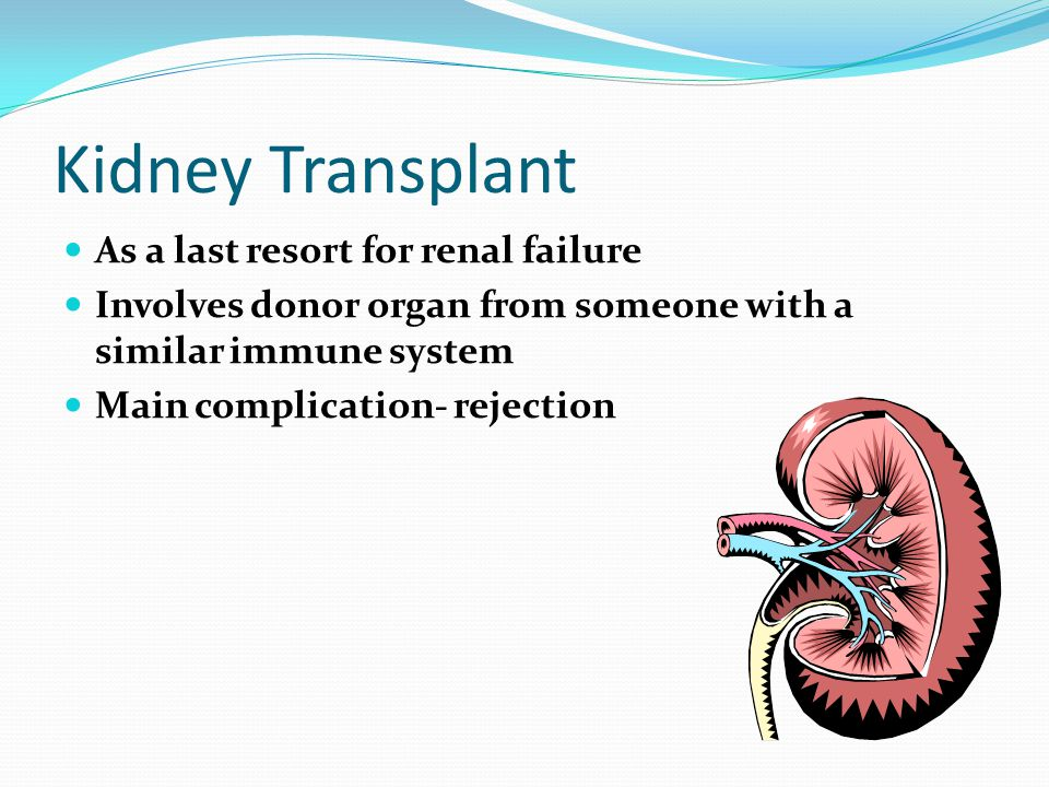 Kidney Transplant As a last resort for renal failure