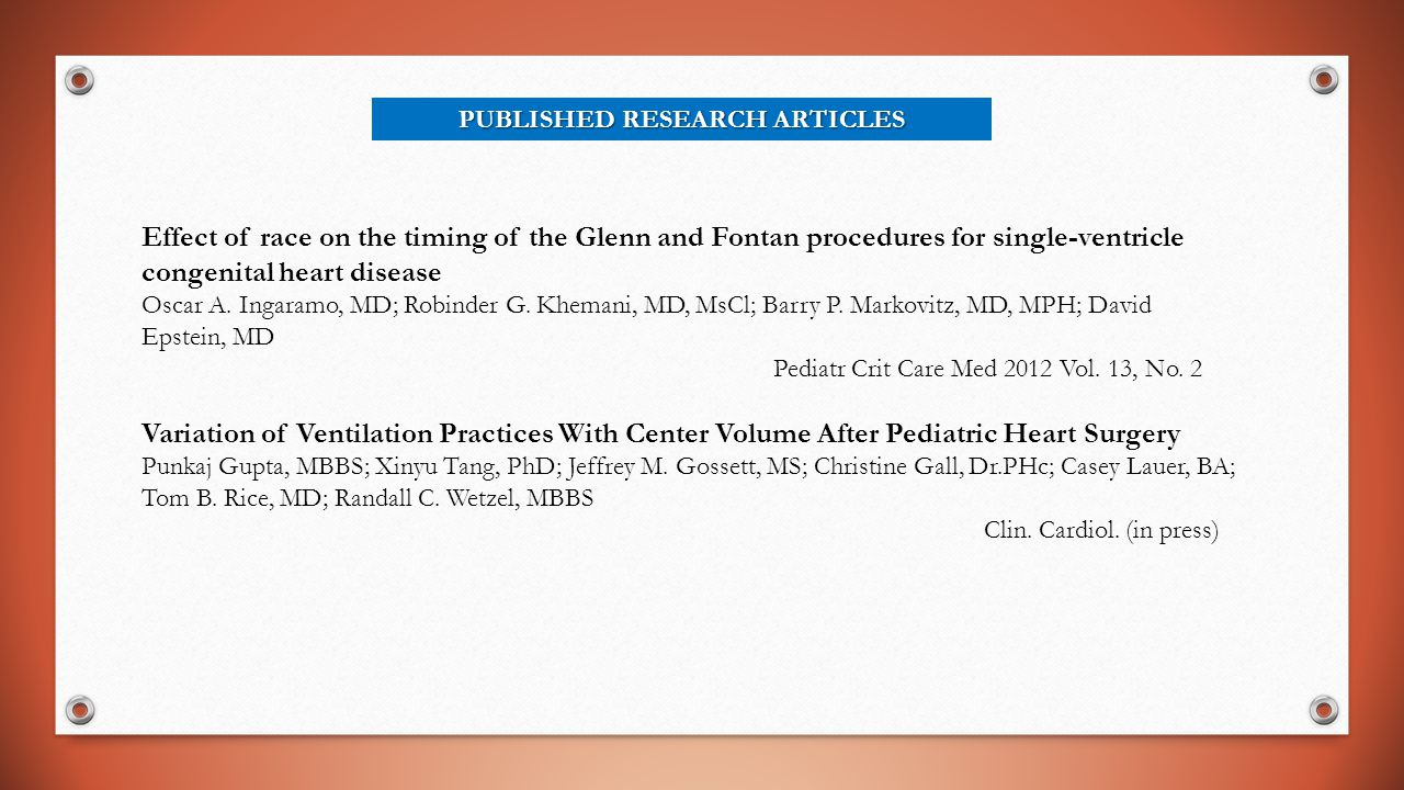 PUBLISHED RESEARCH ARTICLES