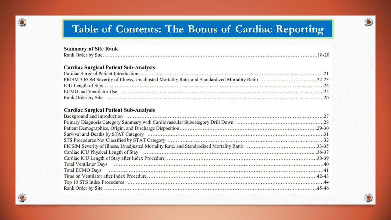 Table of Contents: The Bonus of Cardiac Reporting