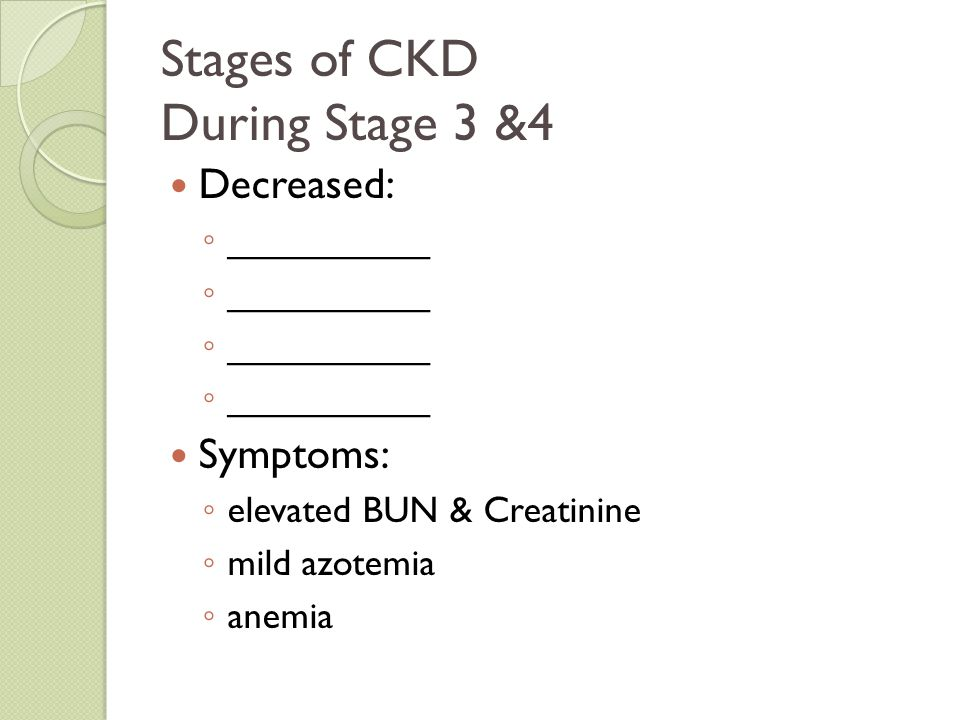Stages of CKD During Stage 3 &4