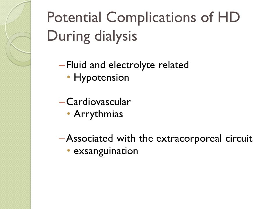 Potential Complications of HD During dialysis