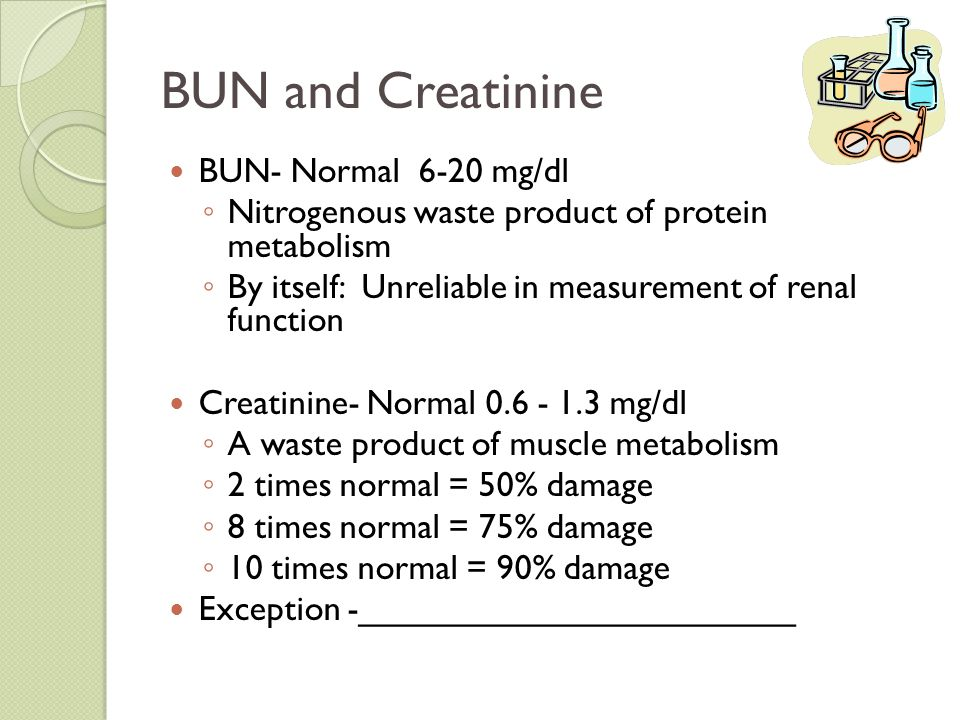 BUN and Creatinine BUN- Normal 6-20 mg/dl