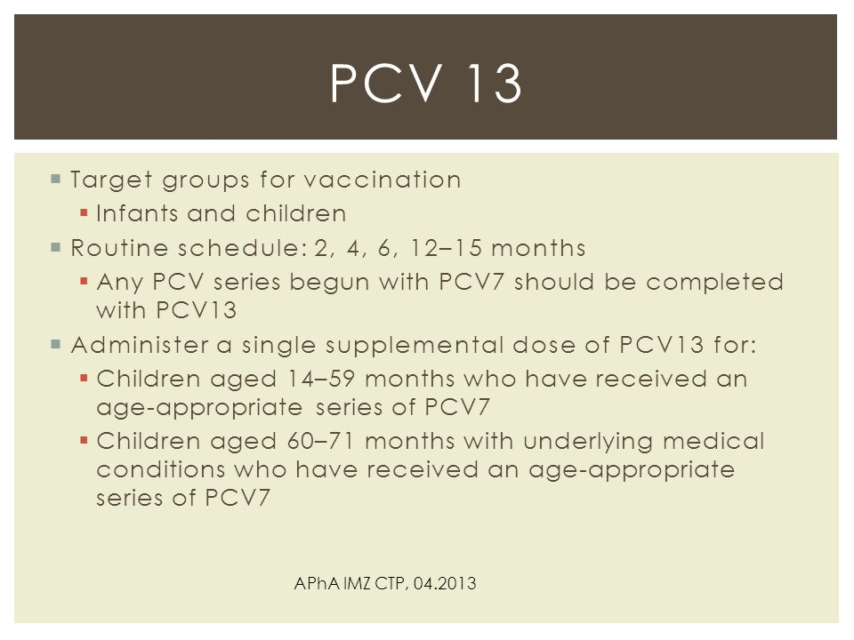 PCV 13 Target groups for vaccination Infants and children
