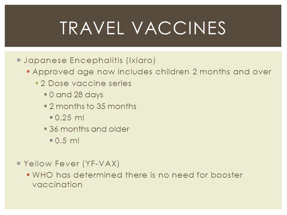 Travel vaccines Japanese Encephalitis (Ixiaro)