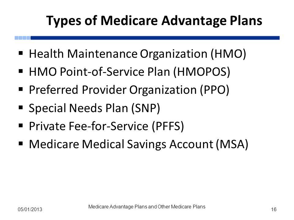 Types of Medicare Advantage Plans
