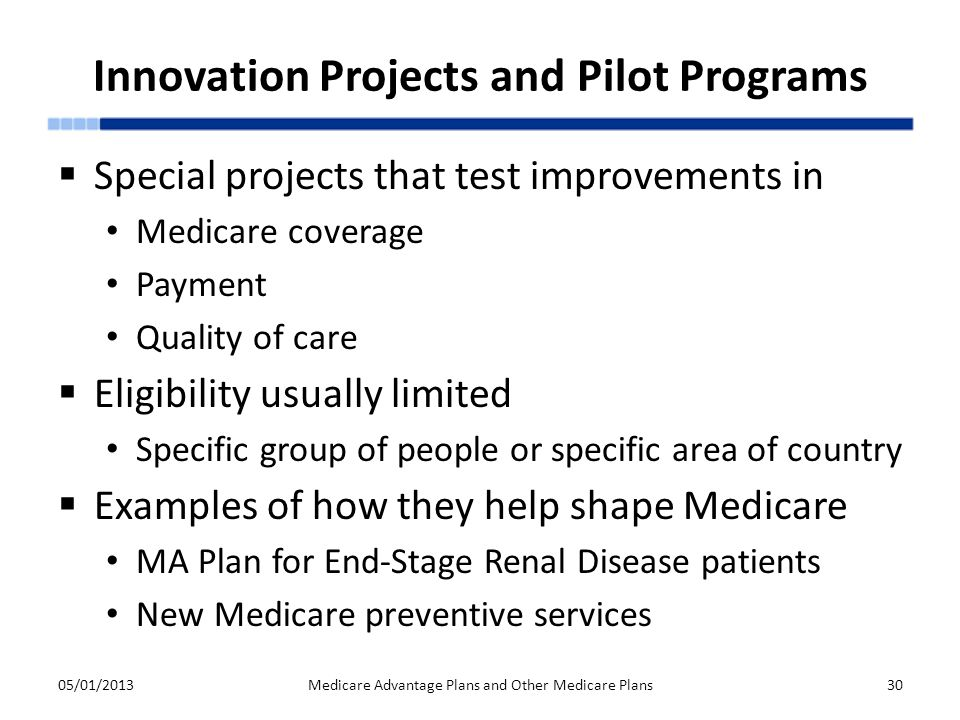 Innovation Projects and Pilot Programs