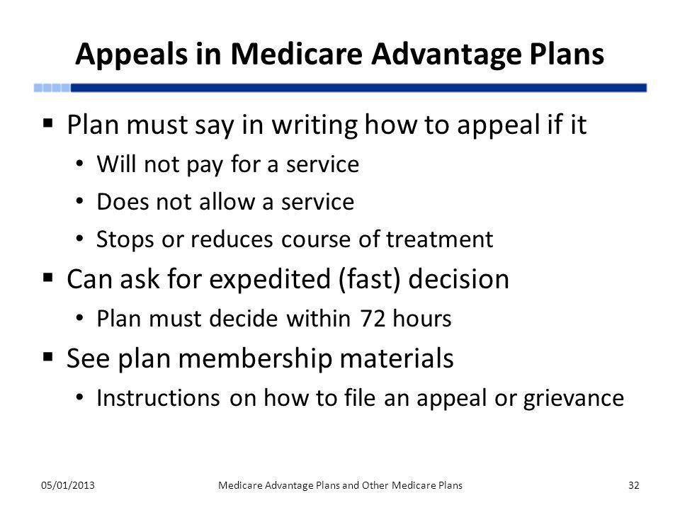 Appeals in Medicare Advantage Plans