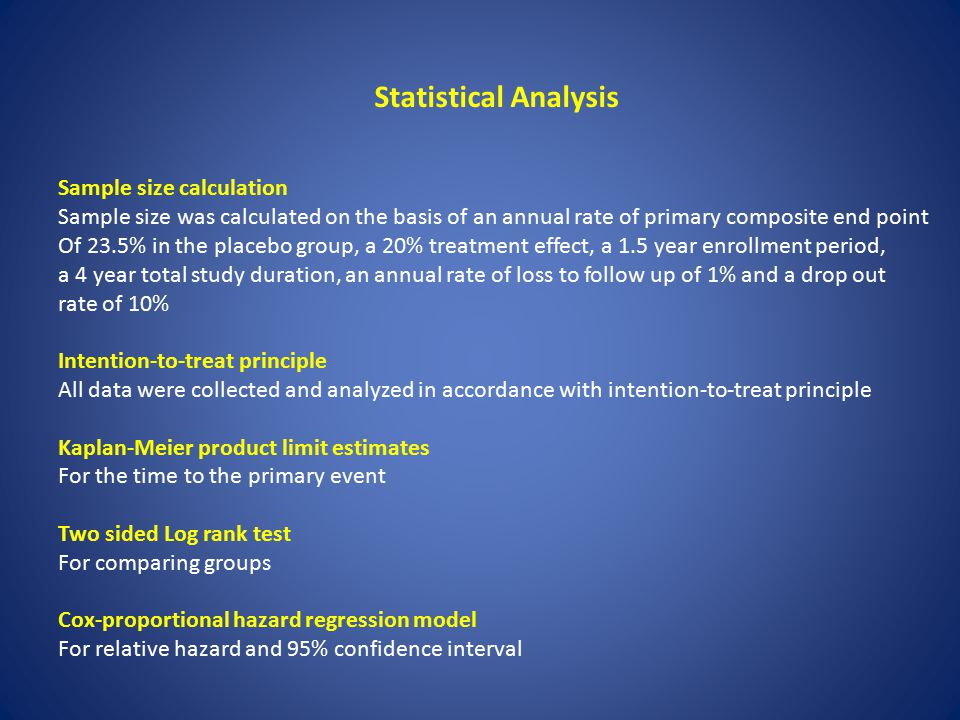 Statistical Analysis Sample size calculation