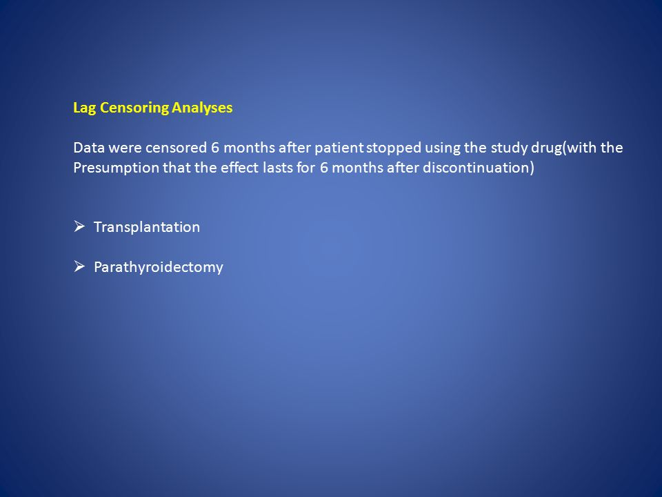 Lag Censoring Analyses