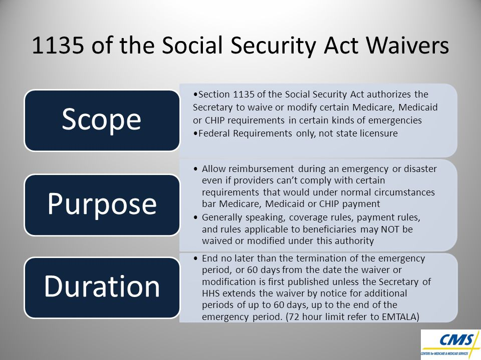 1135 of the Social Security Act Waivers