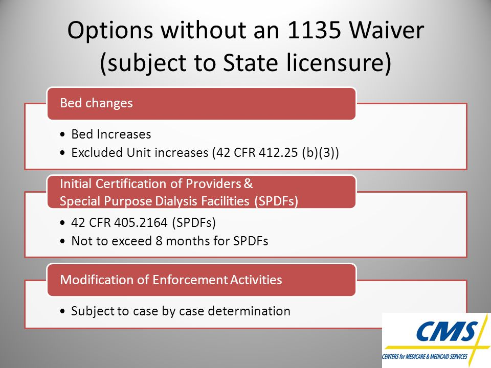 Options without an 1135 Waiver (subject to State licensure)