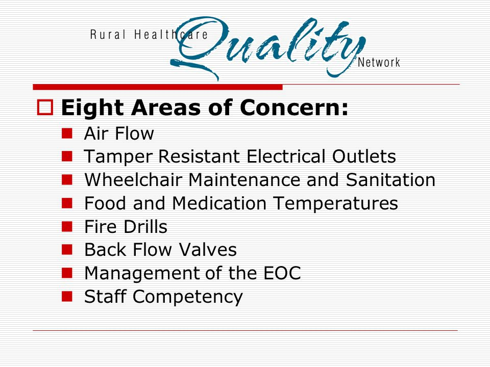 Eight Areas of Concern: