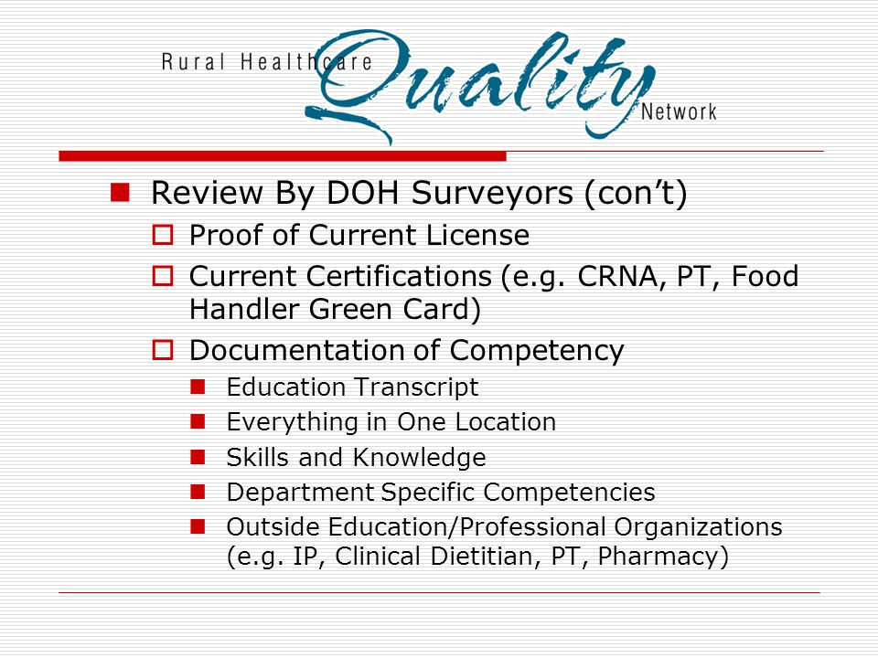 Review By DOH Surveyors (con't)