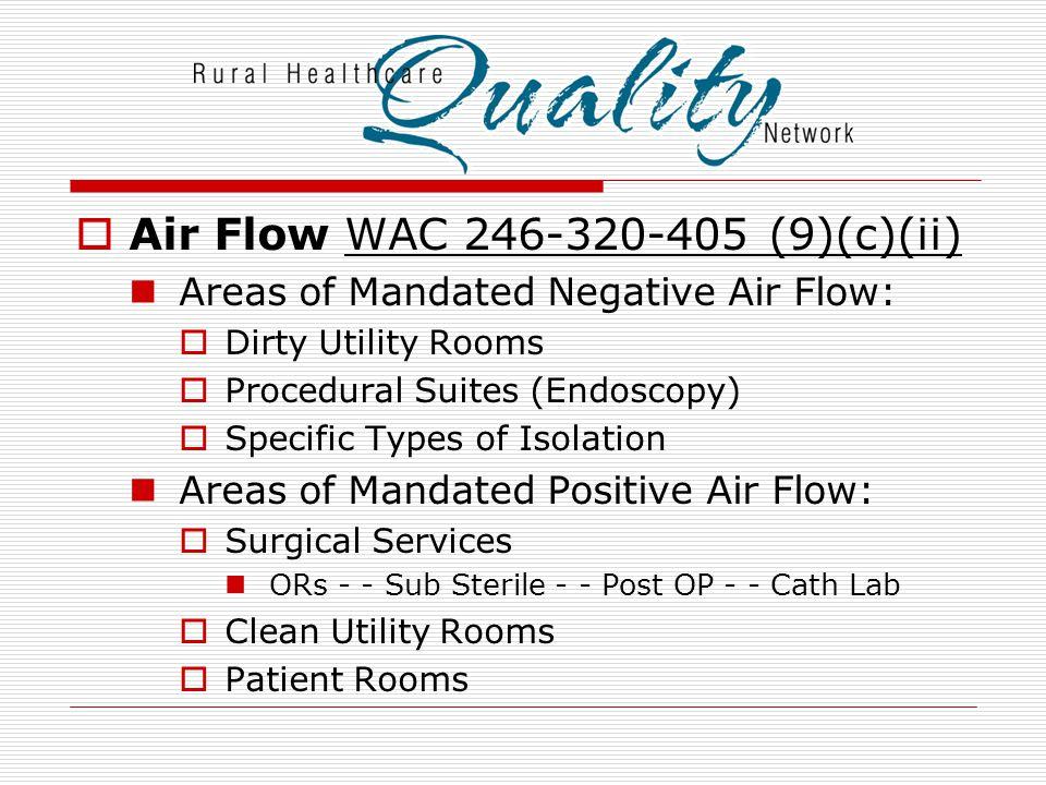 Air Flow WAC 246-320-405 (9)(c)(ii)