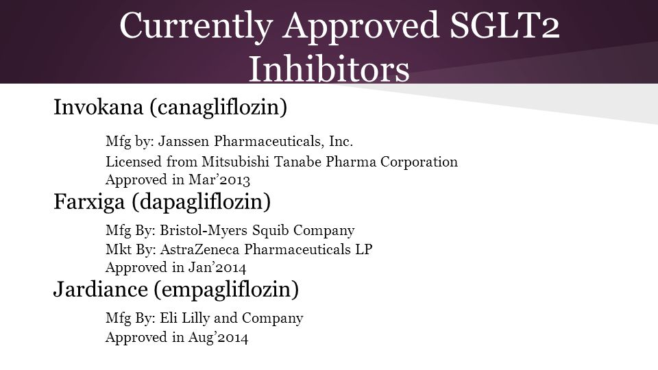 Currently Approved SGLT2 Inhibitors