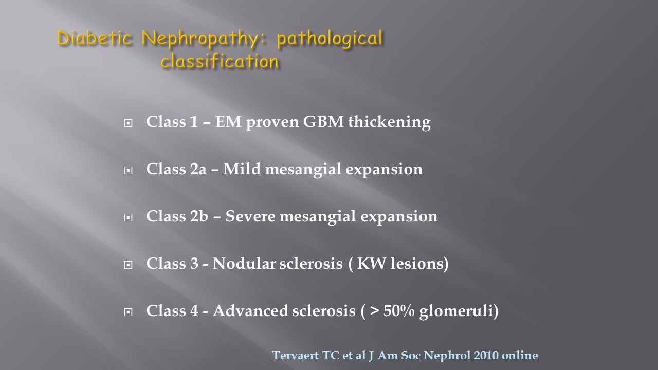 Diabetic Nephropathy: pathological classification