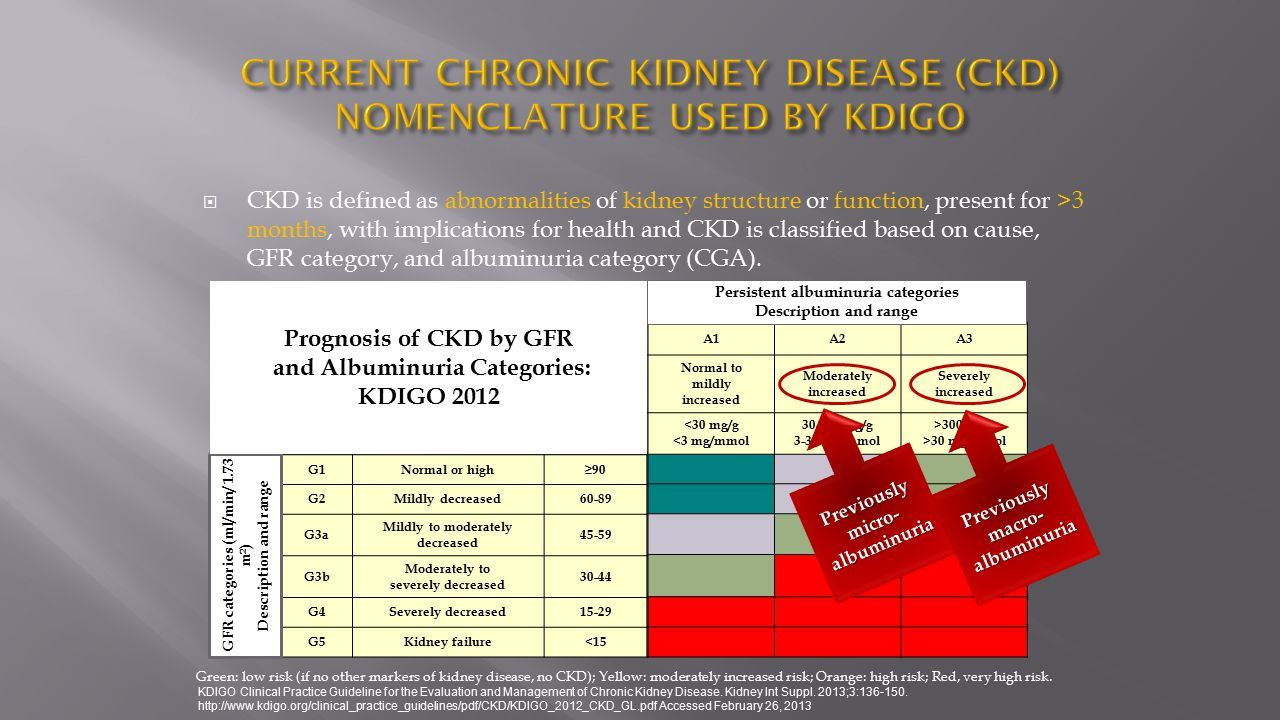 CURRENT CHRONIC KIDNEY DISEASE (CKD) NOMENCLATURE USED BY KDIGO