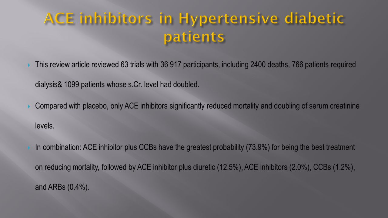 ACE inhibitors in Hypertensive diabetic patients