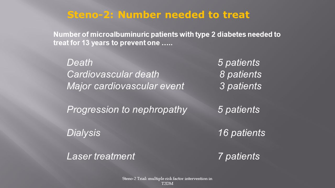 Steno-2 Trial: multiple risk factor intervention in T2DM
