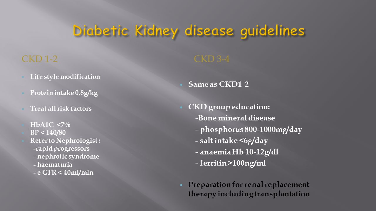 Diabetic Kidney disease guidelines