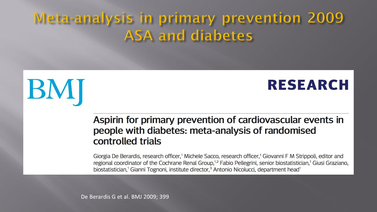 Meta-analysis in primary prevention 2009 ASA and diabetes