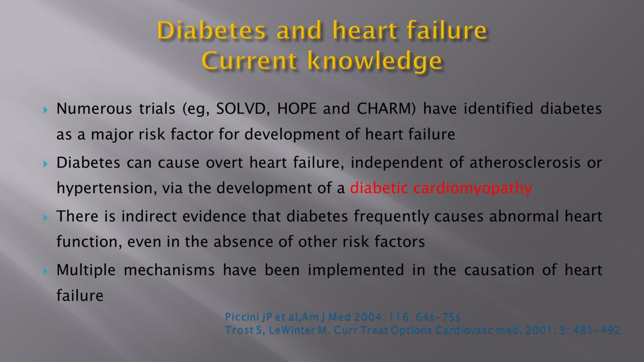Diabetes and heart failure Current knowledge