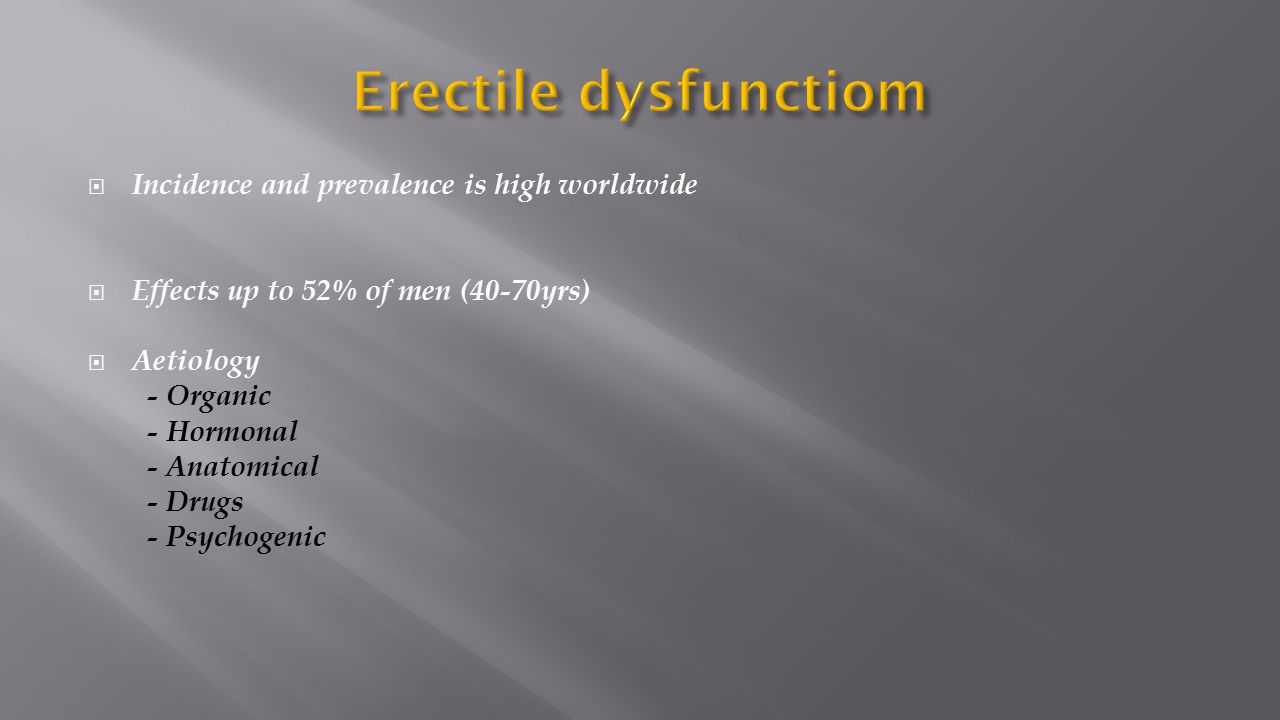 Erectile dysfunctiom Incidence and prevalence is high worldwide