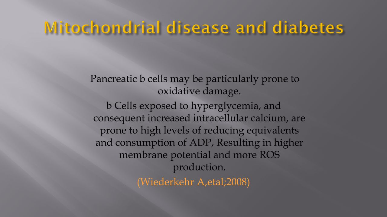 Mitochondrial disease and diabetes