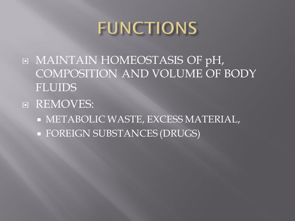 FUNCTIONS MAINTAIN HOMEOSTASIS OF pH, COMPOSITION AND VOLUME OF BODY FLUIDS. REMOVES: METABOLIC WASTE, EXCESS MATERIAL,