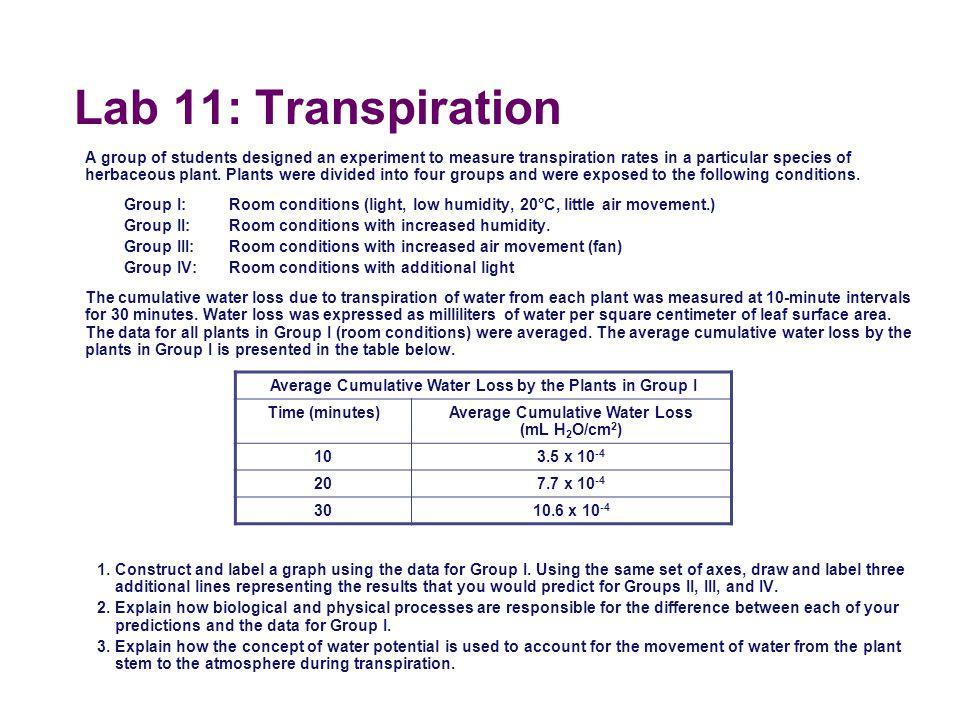 Lab 11: Transpiration