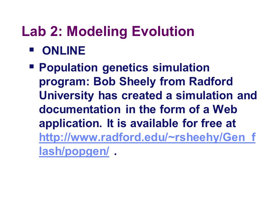 Lab 2: Modeling Evolution