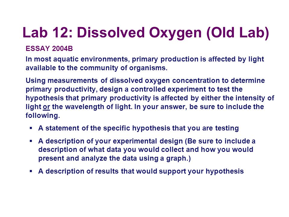 Lab 12: Dissolved Oxygen (Old Lab)