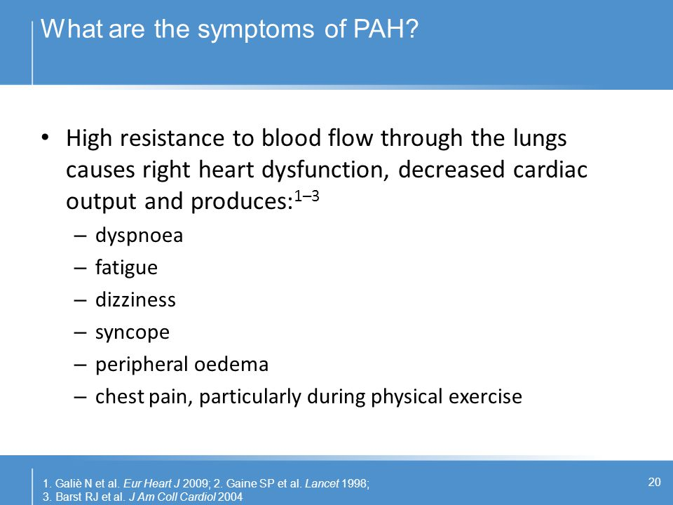 What are the symptoms of PAH