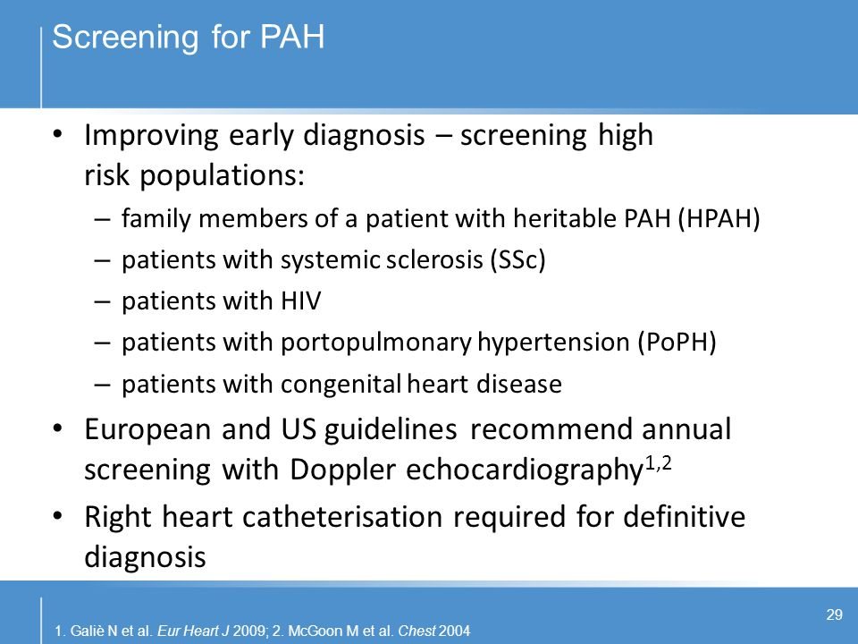 Improving early diagnosis – screening high risk populations: